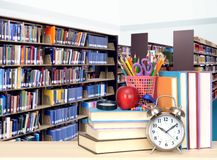 Stack of books in library. For education concept Stock Photography