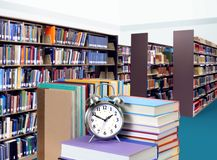 Stack of books in library. For education concept Stock Images