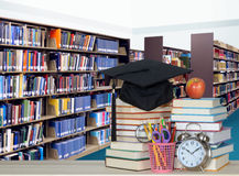 Stack of books in library. For education concept Stock Photos