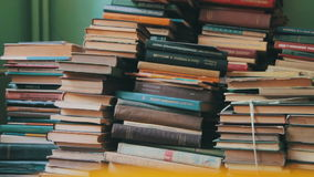 Stack of Books in the Library stock video