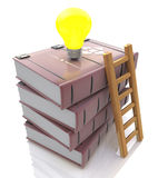 Stack of books with light bulb and ladder Royalty Free Stock Image
