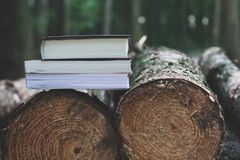 A stack of books lying on the logs,  save trees - read ebooks co Stock Photography