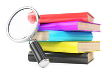 Stack of books and magnifier Royalty Free Stock Photo