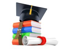 Stack of books with mortarboard. Isolated on white background Stock Photos