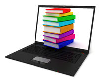 Stack of books in notebook. Library books in notebook. 3D render Stock Images