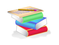 Stack of books with notebook and pencil on top Stock Images
