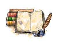 Stack of books, open book and quill pen. From a splash of watercolor, hand drawn sketch. Vector illustration of paints royalty free illustration