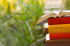 Stack of books and Open hardback book on blurred Royalty Free Stock Image