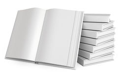 Stack of books. Open white book. On white background. 3d render Royalty Free Stock Photography