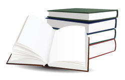 Stack of books and opened book. With blank pages Royalty Free Stock Photo