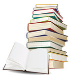 Stack of books and opened book Royalty Free Stock Image