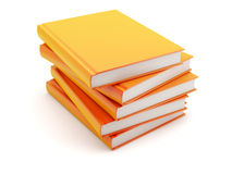 Stack of books. Stack of orange books isolated Royalty Free Stock Images