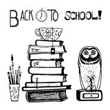 Stack of books and owl hand drawn. Vector illustration Royalty Free Stock Photo