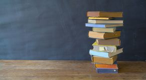 stack of books, panorama, good copy space, education,reading,back to school concept stock image