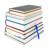 Stack of books with pen Stock Photos