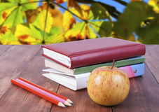 Stack of books, pencils and yellow apple. Series back to school. Royalty Free Stock Photos