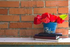 A stack of books and a pot of spring flowers against a brick wal. L background Stock Image