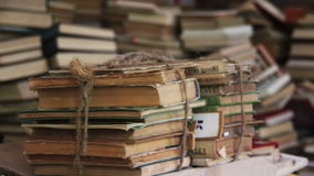 Stack of Books Scattered on the Floor in the Library stock video footage