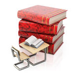 Stack of books and school desk Stock Photos