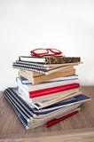 Stack of books on the shelf Stock Image