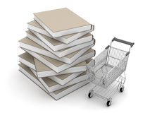 Stack of books and shopping cart Royalty Free Stock Photography