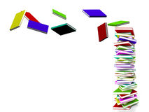 Stack Of Books With Some Flying Representing Learning And Educat Royalty Free Stock Photography