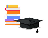 Stack of Books and Square Academic Cap. Vector. Stack of books and square academic cap. Professional growth. Necessary to get knowledge constantly. Lifelong Royalty Free Stock Photography