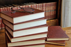 Stack of books on table Royalty Free Stock Image