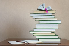 Stack of books. On the table Royalty Free Stock Photos