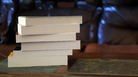 Stack of books on a table royalty free stock photo