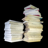 Stack of Books. Tall stack of old books isolated Stock Image