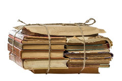 Stack of  books tied with rope isolated on white Stock Image