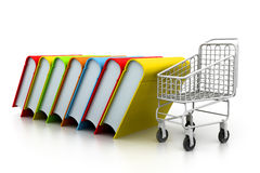 Stack of books and trolley. 3d Stack of books and trolley Stock Images