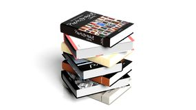 Stack of books with various subjects Stock Photo