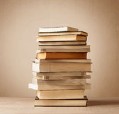 A stack of books with vintage background. A stack of old books with vintage background royalty free stock photo