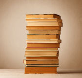 A stack of books with vintage background. A stack of old books with vintage background royalty free stock photography