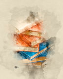 Stack of books. Watercolor background stock images