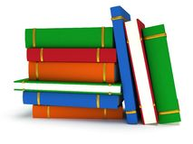 Stack of Books on white background. 3d render Stock Images