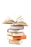 Stack of books on a white background. Stock Images