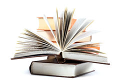 Stack of books on a white background. Royalty Free Stock Photos