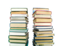 Stack of books on a white background with reflection Royalty Free Stock Images