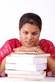 Stack of books with women. Woman with neatly stack of books Royalty Free Stock Photo