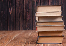 Stack of books on wood royalty free stock images