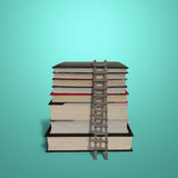 Stack of books with wooden ladder isolated in green Royalty Free Stock Photos