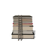 Stack of books with wooden ladder isolated in white Royalty Free Stock Photos