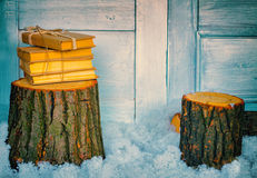 Stack of books on the wooden stump Stock Image