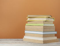 Stack of books on the wooden table. Education background.Back to school.Copy space for text Stock Photography