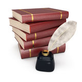 Stack of books writing feather Royalty Free Stock Image
