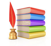 Stack of books and  writing quill Royalty Free Stock Images