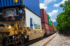 Stack Box Cars on a Norfolk and Southern Train. Stock Images